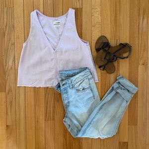 Aritzia Wilfred Free Lilac denim shirt